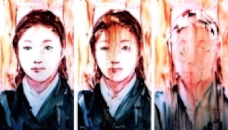 大崎のぶゆき《TraceTrip,Portraits-womanofSunYatsen》映像部分undefined時間経過とともに描かれたモチーフが溶けていく