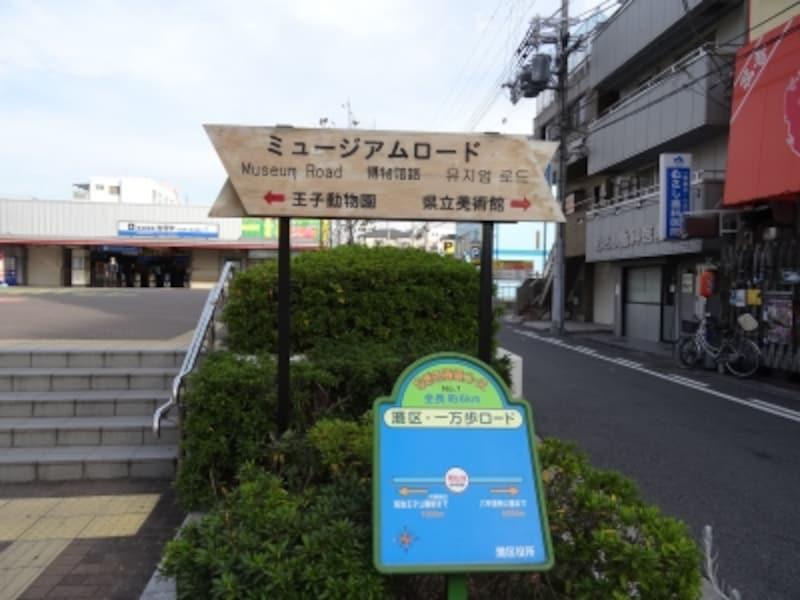 阪神電車岩屋駅前にある「ミュージアムロード」の看板