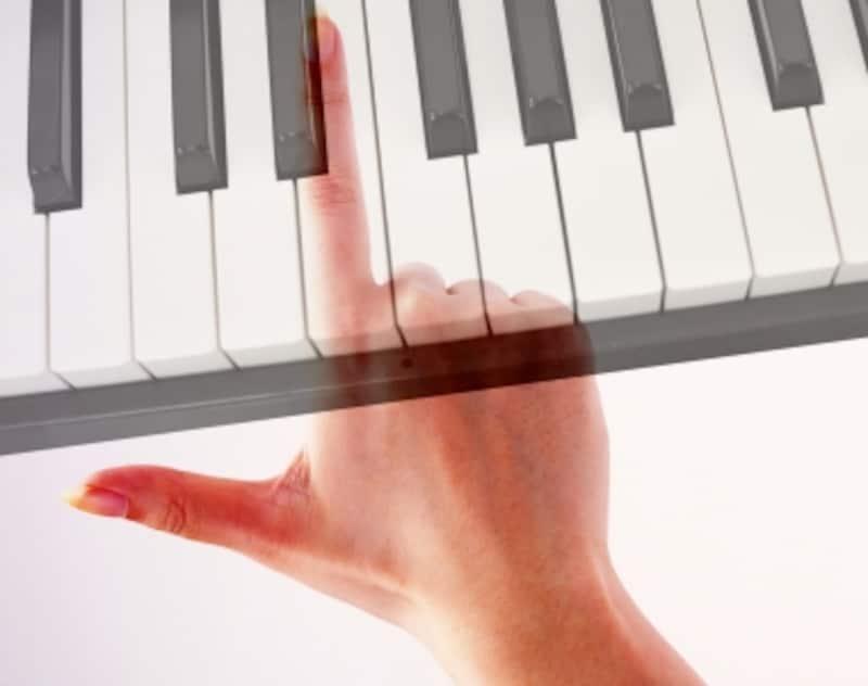 指と鍵盤の写真