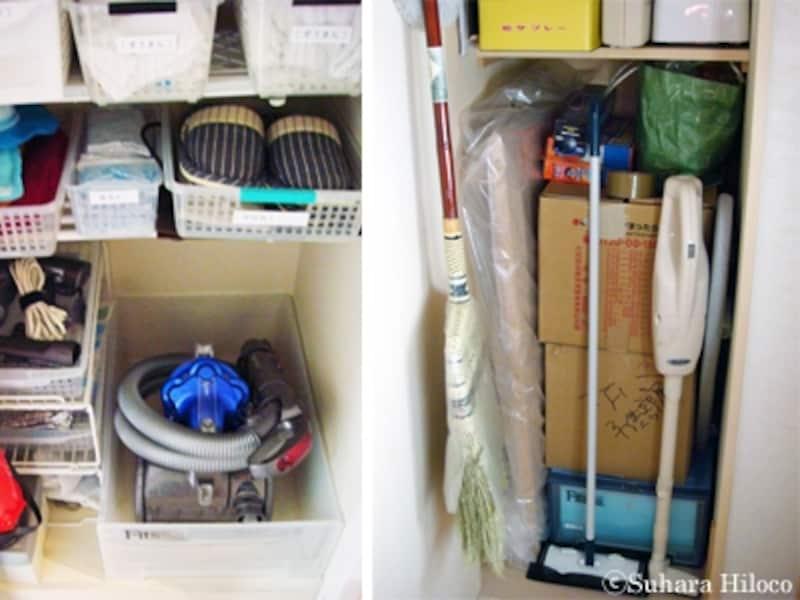 廊下や階段下の物入れに掃除用具を収納