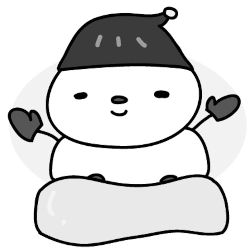 【モノクロ】華麗に滑る雪だるまです。
