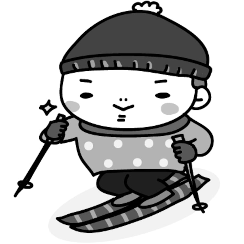 【モノクロ】張り切ってスキーをする男の子です。