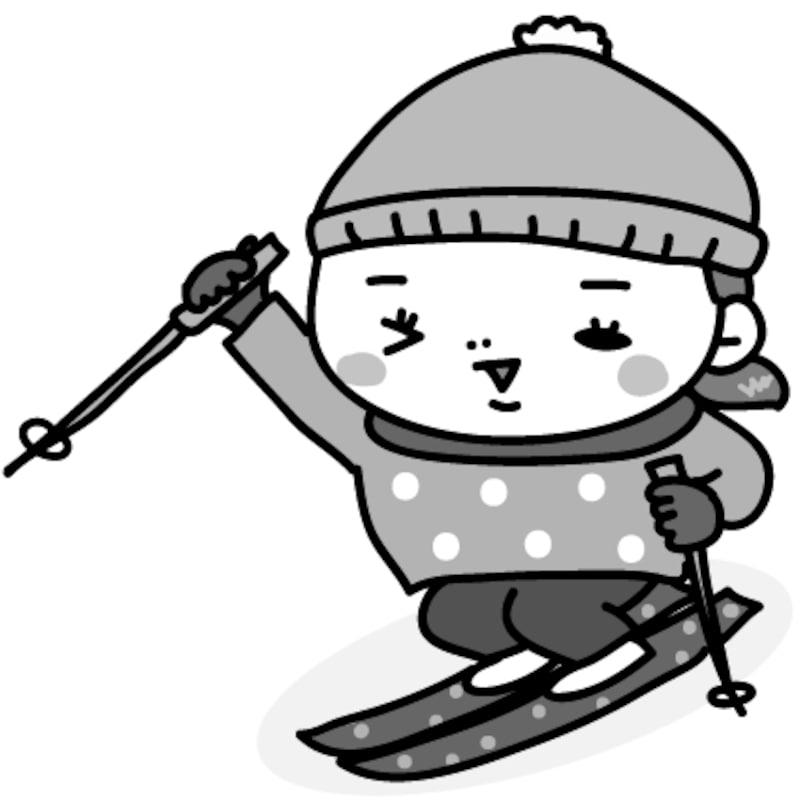 【モノクロ】張り切ってスキーをする女の子です。