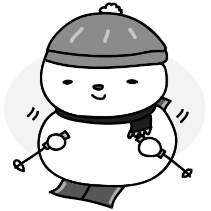 【モノクロ】上手にスキーをする雪だるまです。