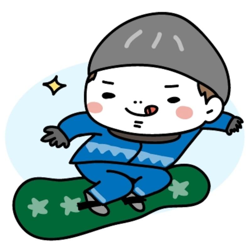 【カラー】上手にスノボをする男の子です。