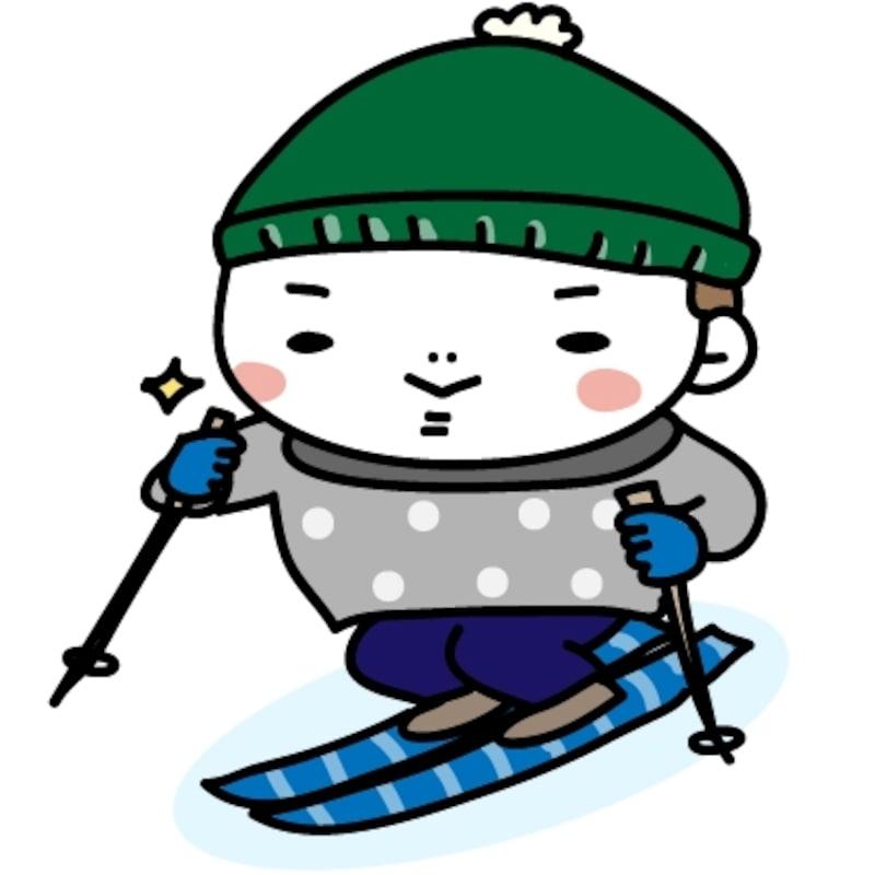 【カラー】張り切ってスキーをする男の子です。