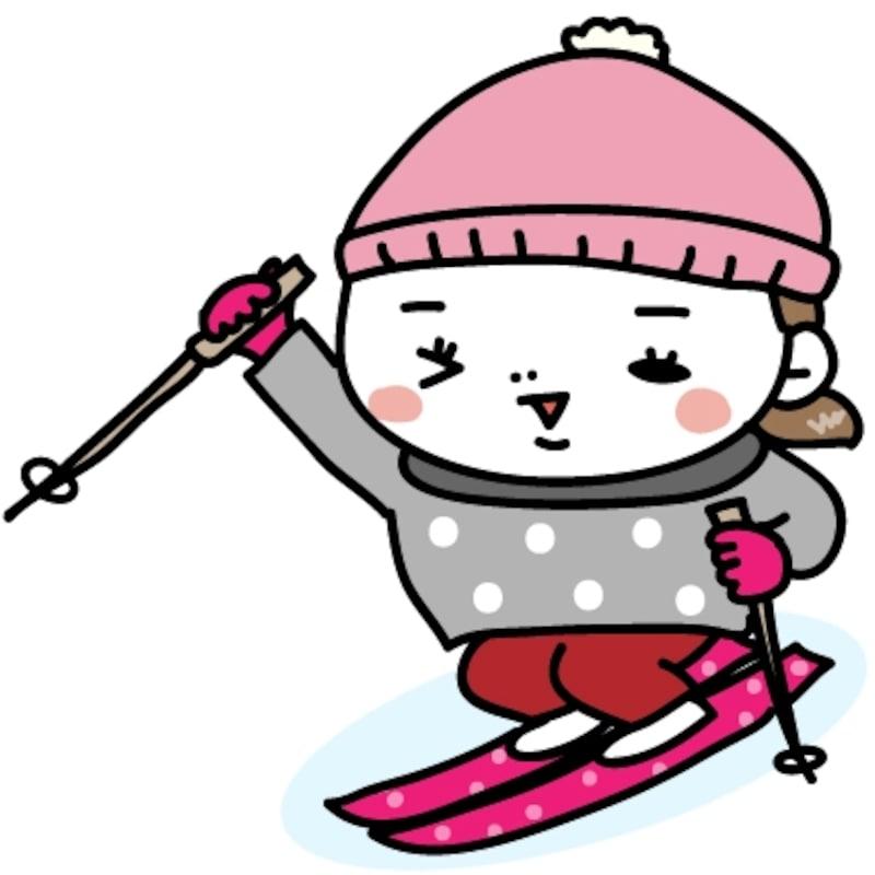【カラー】張り切ってスキーをする女の子です。