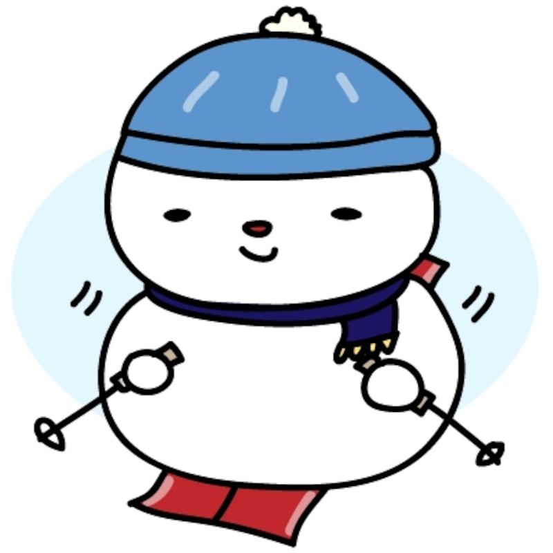 【カラー】上手にスキーをする雪だるまです。