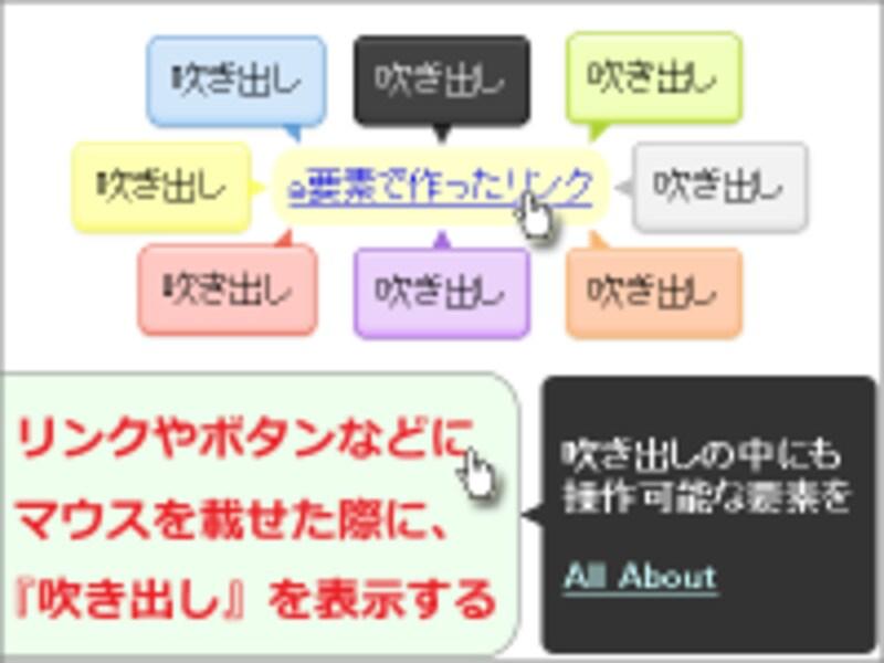 吹き出しの配色は9種類。吹き出し内の文字はリンクにしたり装飾したりも可能