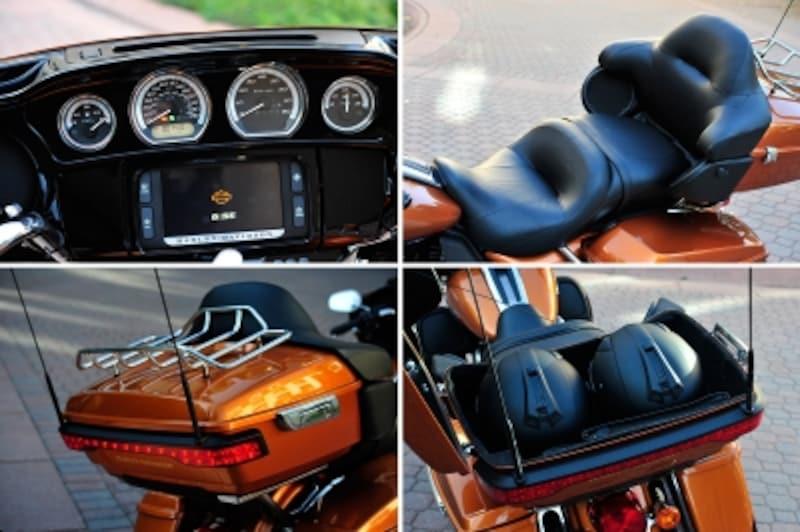 タッチパネル式のモニター(オーディオ機能が主で、ナビ機能はなし)、パッセンジャーが快適に過ごせるダブルシート、ヘルメットがふたつも収納できるトップケースが標準装備のウルトラ。さらにケース上のキャリア上にも荷物を載せられるのです。
