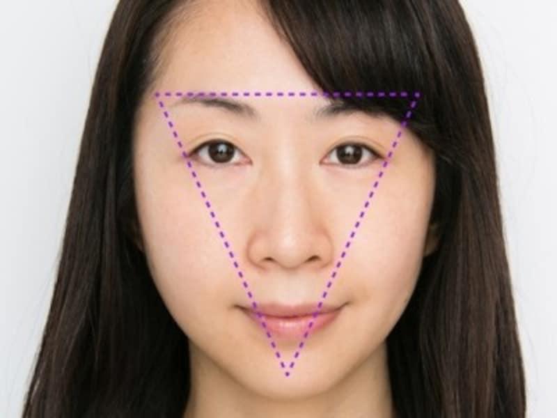顔の中心の逆三角形エリア