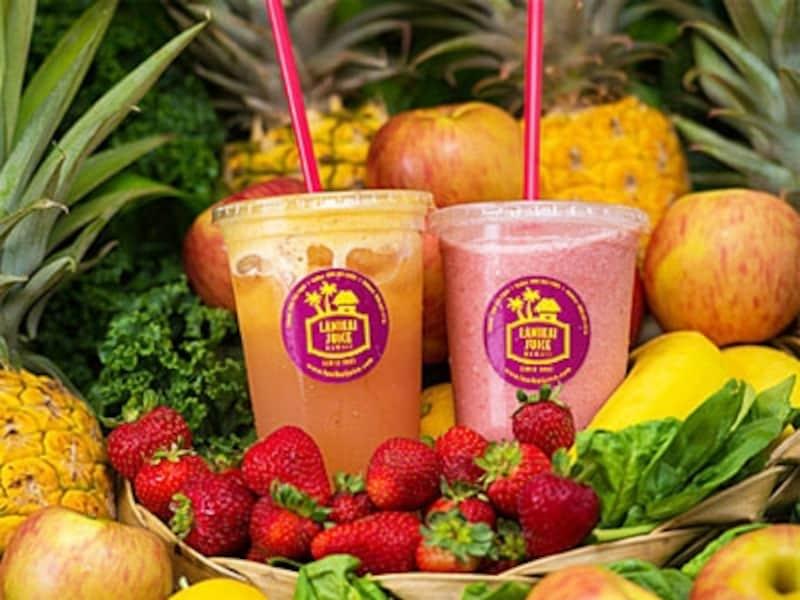 生のフルーツと野菜をふんだんに使用したジュースは7種類。ほかに、ケール、ほうれん草などをミックスしたグリーンジュースもある