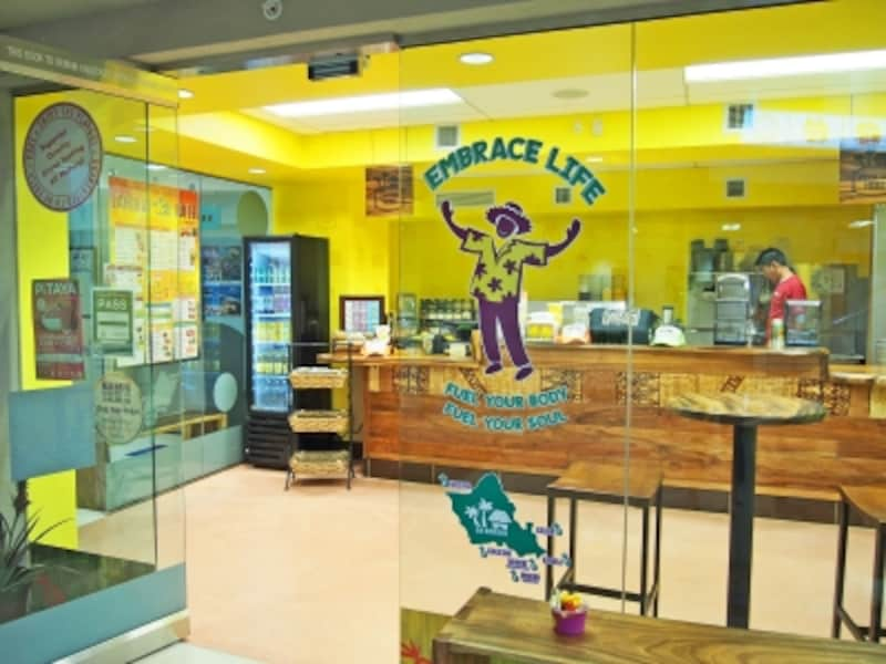 ワイキキ・ショッピング・プラザ地下1階のラニカイ・ジュース。入口はロイヤル・ハワイアン通り沿い、Tギャラリア・ワイキキ向かい