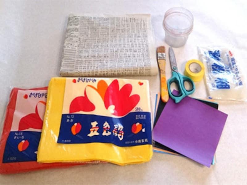 お花紙、色紙は好きな色を使いましょう