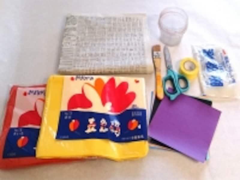 材料の画。お花紙、色紙は好きな色を使いましょう