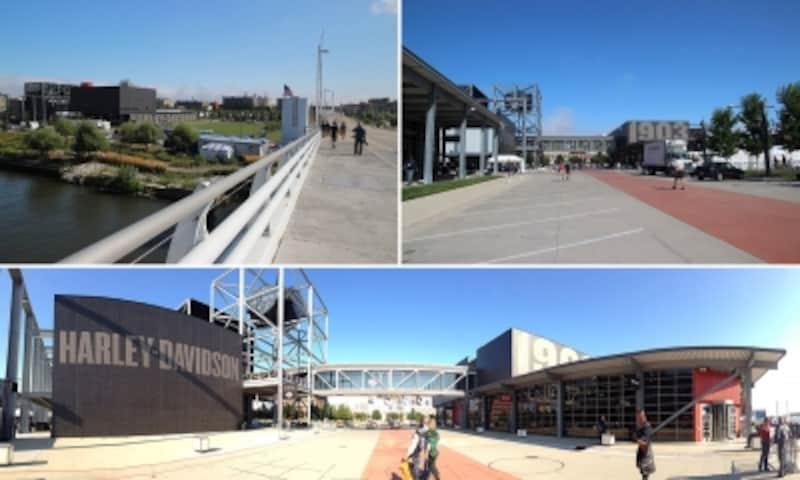 [左上]大きな橋を渡るとH-Dミュージアムが見えてきますundefined[右上]ミュージアムは広大な敷地の一角にありますundefined[下]周辺の風景をパノラマ撮影