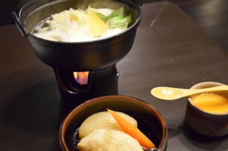 湯豆腐、揚げ出し餅、デザート