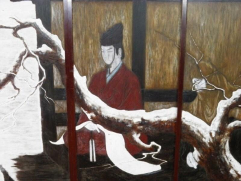 腰越状を持つ源義経が描かれた鎌倉彫の襖絵