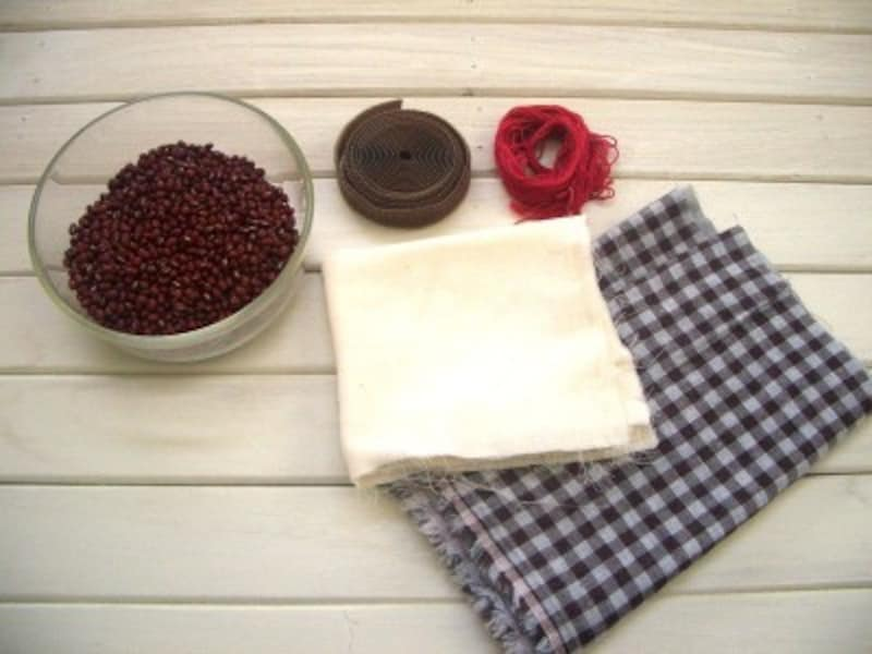 手作り小豆カイロの材料