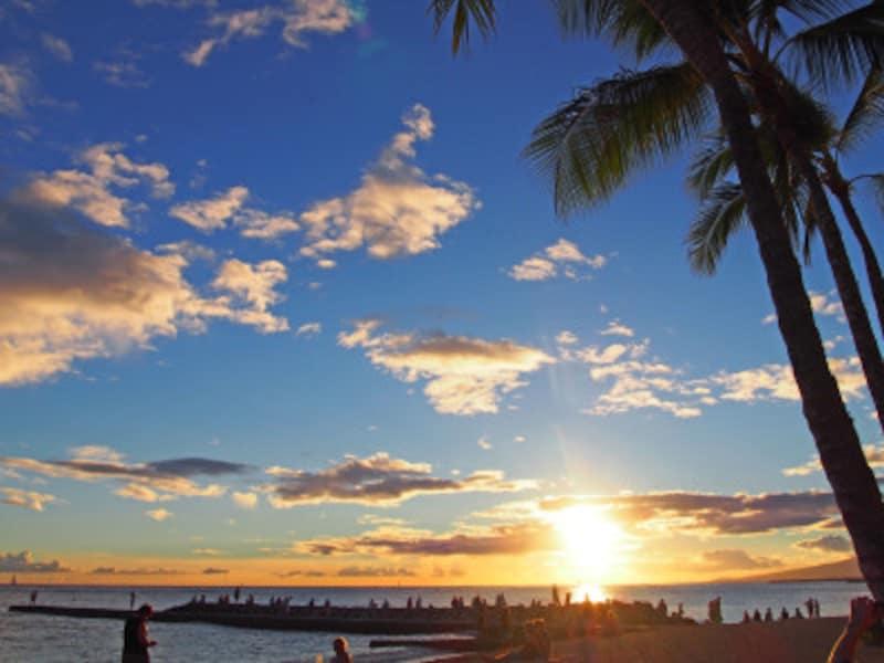 ワイキキビーチのサンセット。画像は9月に撮影