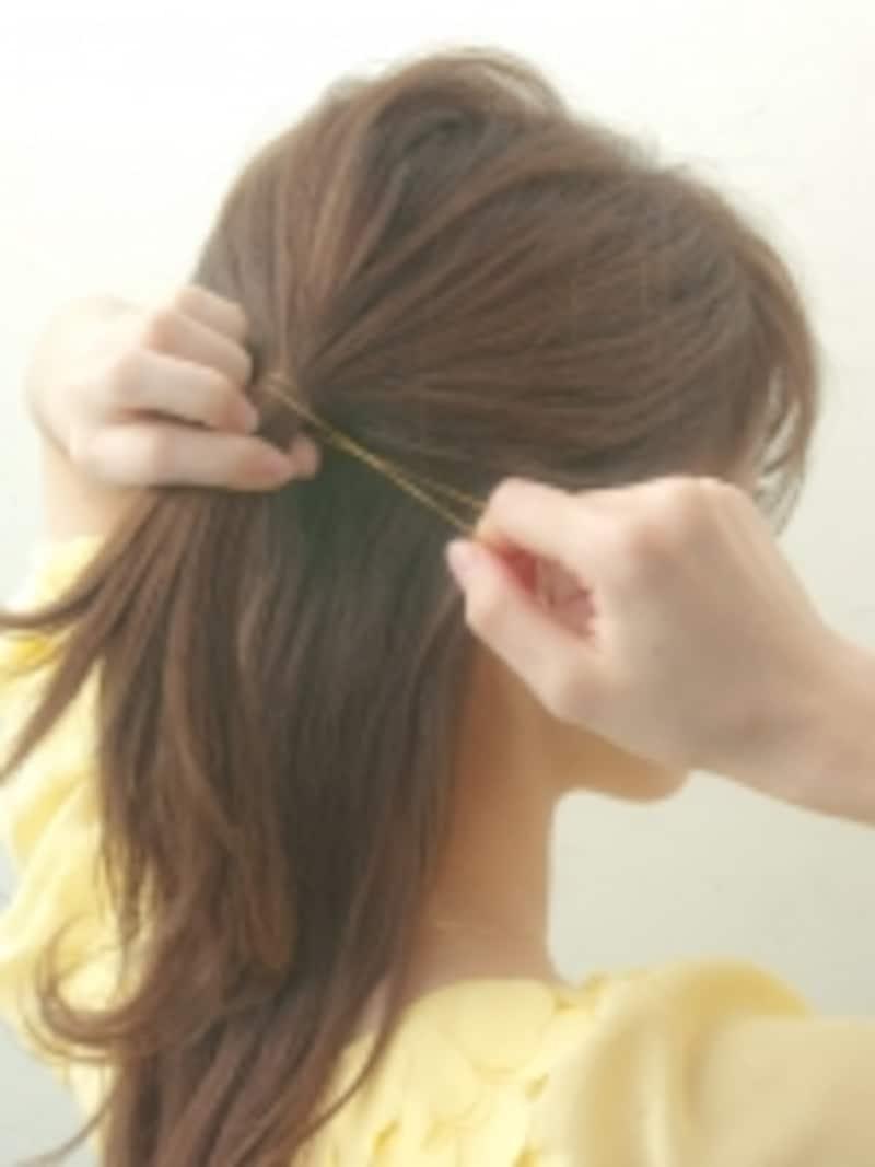 髪の色とゴムの色を合わせると目立たない