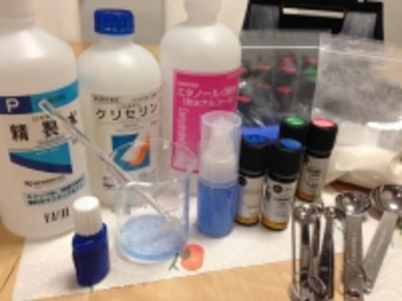抗菌アロマハンドジェルの材料と道具