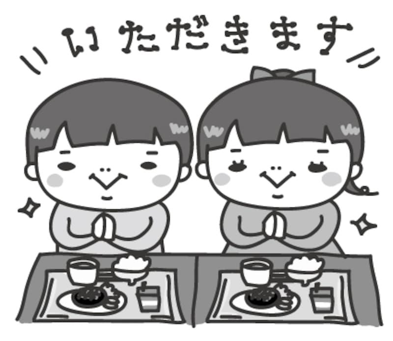 給食 学校 イラスト 白黒 かわいい