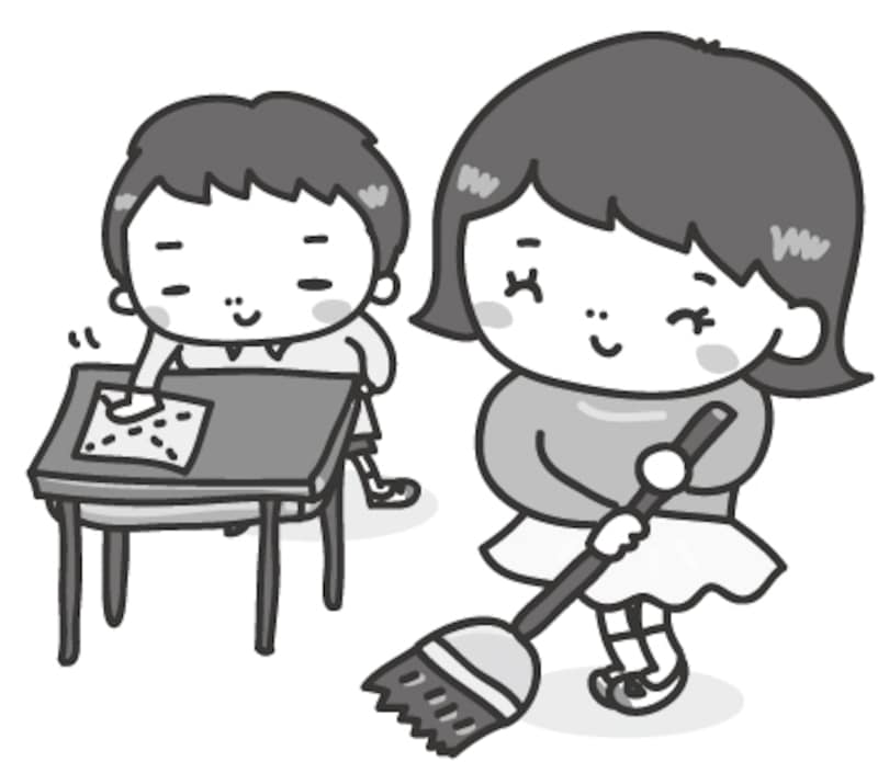 掃除 学校 イラスト 白黒 かわいい