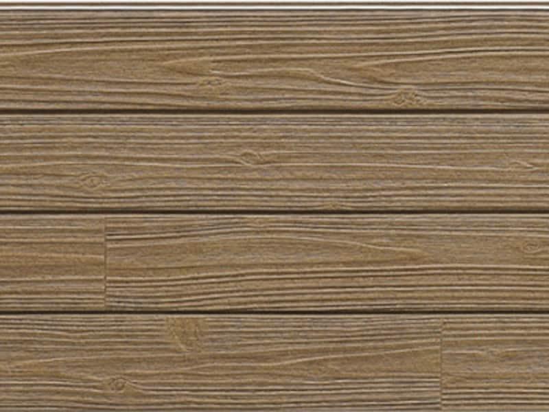 杉材の風合いを持つデザイン。セラミックコートが紫外線から着色層を守り、色あせや日焼けを抑える。 [ネオロック・光セラ16 セフィロウッドFTグラデーション塗装 ガーデンチタンオーク]  ケイミュー www.kmew.co.jp