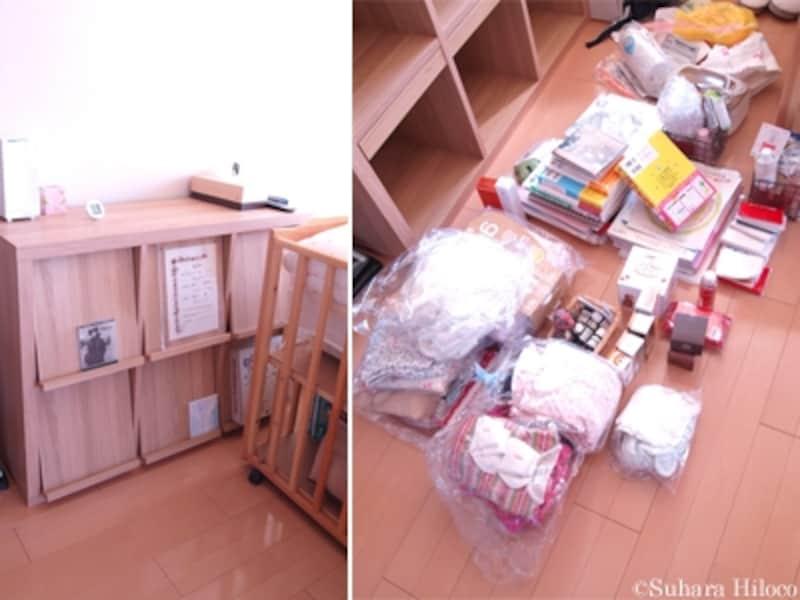 寝室の棚をベビー収納に