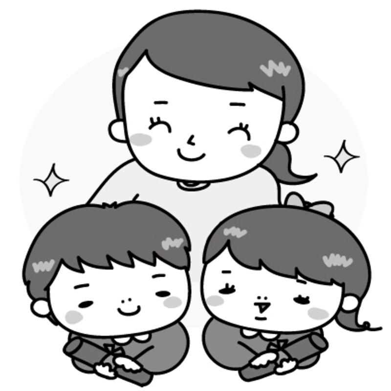 【モノクロ】先生と卒園児たちのイラストです。