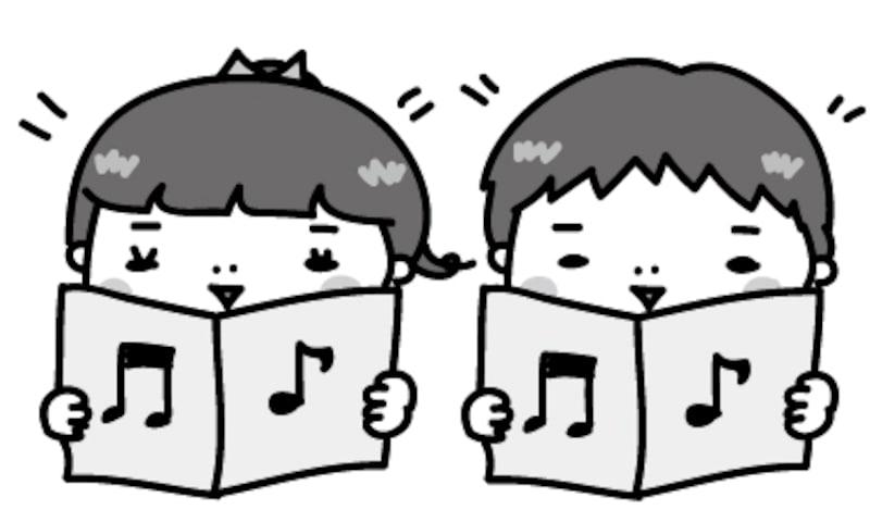 【モノクロ】歌を楽しく歌う園児たちです。