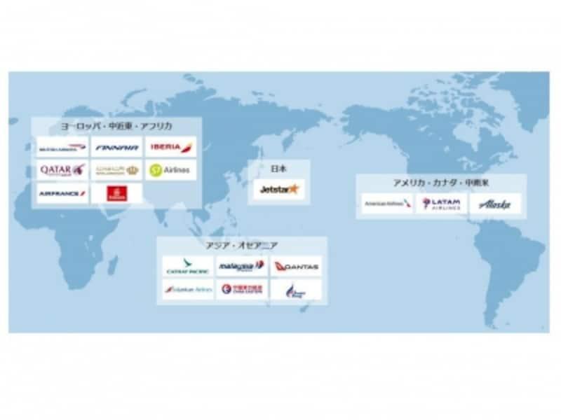 JALが提携する世界中の航空会社。これらの航空会社に搭乗した際、航空券によってはJALのマイルやFLYONポイントが貯まります(JAL公式ホームページより)