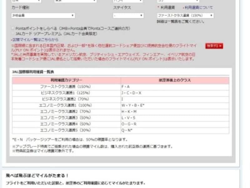 国際線は「JAL国際線利用運賃一覧表」で確認(JAL公式ホームページより)