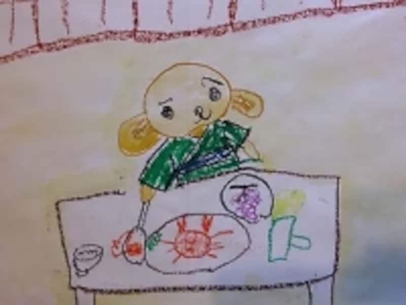 5歳頃〈図式期〉作品名『いぬ、カニのごちそうをたべる』