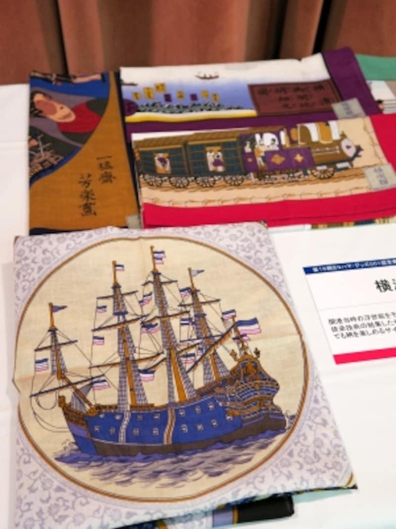丸加「横浜絵バンダナ」(53×53cm、綿100%、800円)