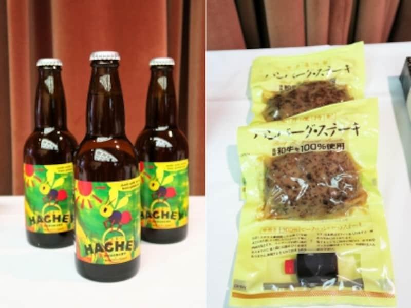 左:厚木ビール「HACHEY」(550円)undefined右:荒井屋「荒井屋特製ハンバーグ・ステーキ」(160g、482円)
