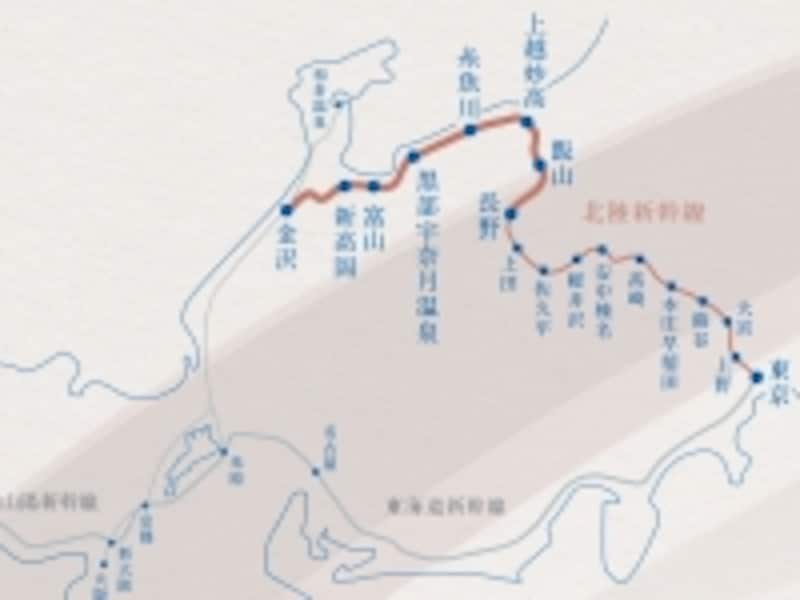 路線図北陸新幹線スペシャルサイトより