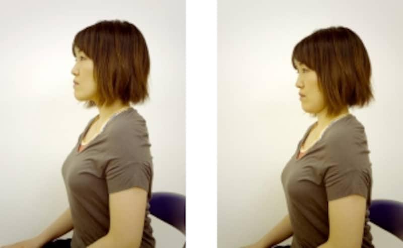 顎を引いた位置(左)、遠くを見た位置(右)