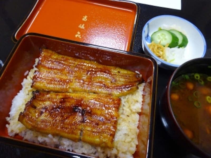 「お食事」特上共水鰻のうな重、お椀、香の物