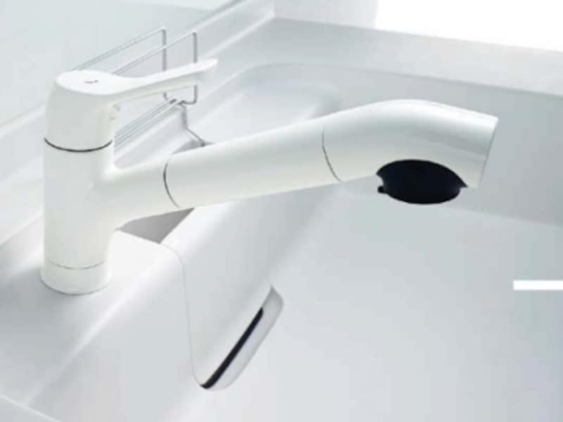 浄水器を内蔵したシングルレバー混合水栓。清潔さを感じるホワイトのタイプ。[オールインワン浄水栓]undefinedLIXIL