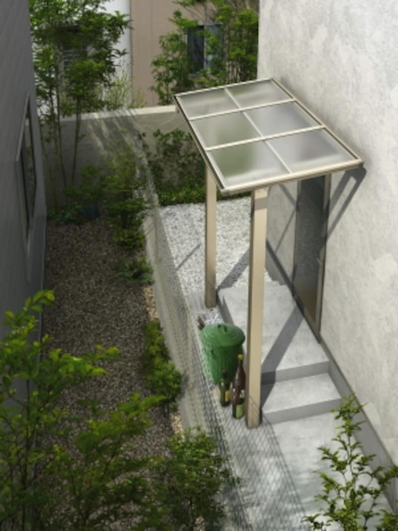 建物外壁に穴を空けることなく設置できるため、さまざまな躯体条件に対応できる。[独立テラス屋根エフルージュグランZERO標準柱フラット型H2トーメイマット]undefinedYKKAPhttp://www.ykkap.co.jp/