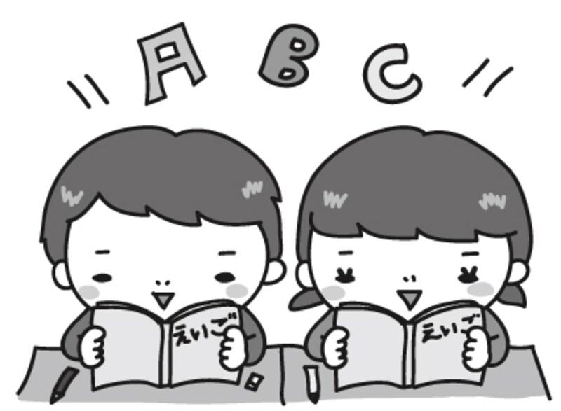 【モノクロ】英語の授業風景のカットです。