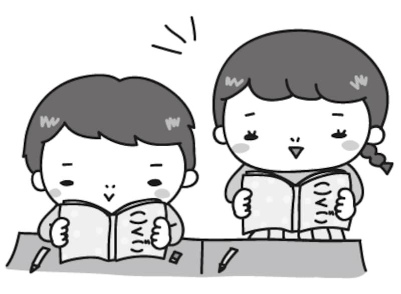 【モノクロ】国語の授業風景のカットです。