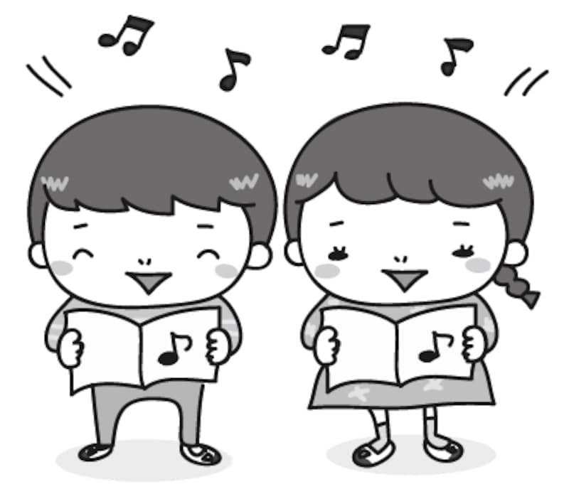 【モノクロ】音楽の授業風景のカットです。