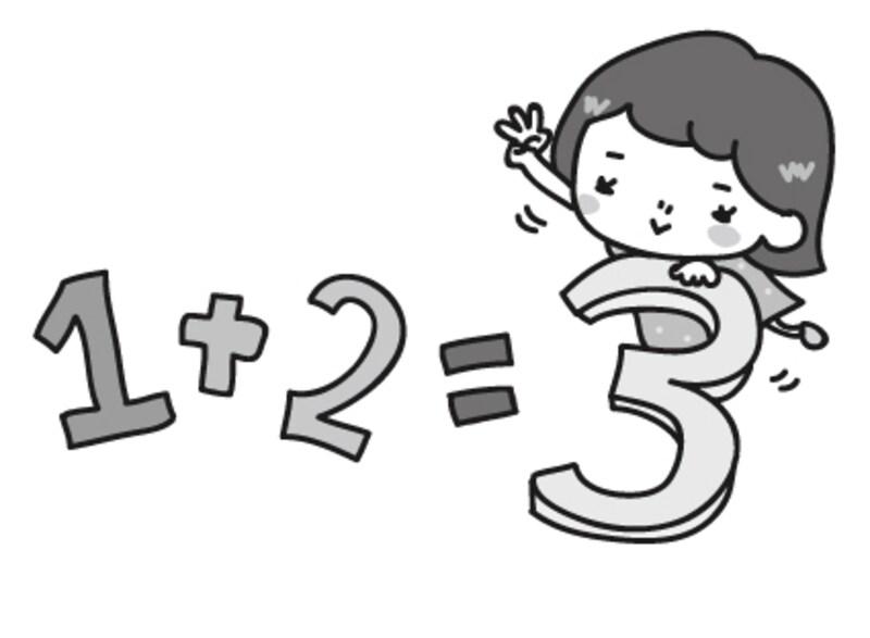 【モノクロ】算数のイメージカットです。