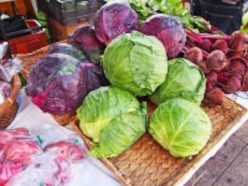 とれたての有機野菜が並ぶ