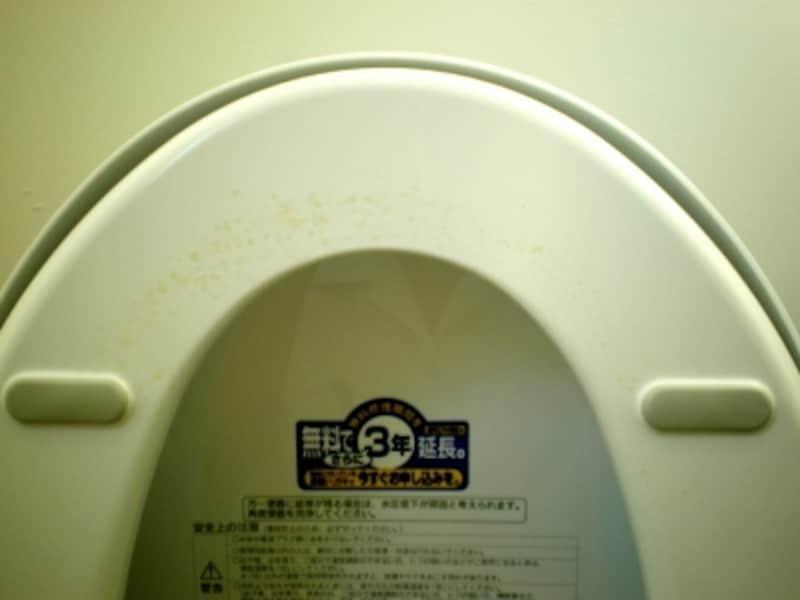 トイレの臭いの原因、がっかり便座の臭いジミ。時間が経つほど取りにくくなり、臭いの原因になっていきます
