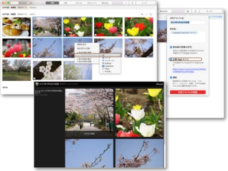 Webブラウザ上に公開された「写真」のiCloud写真共有アルバム