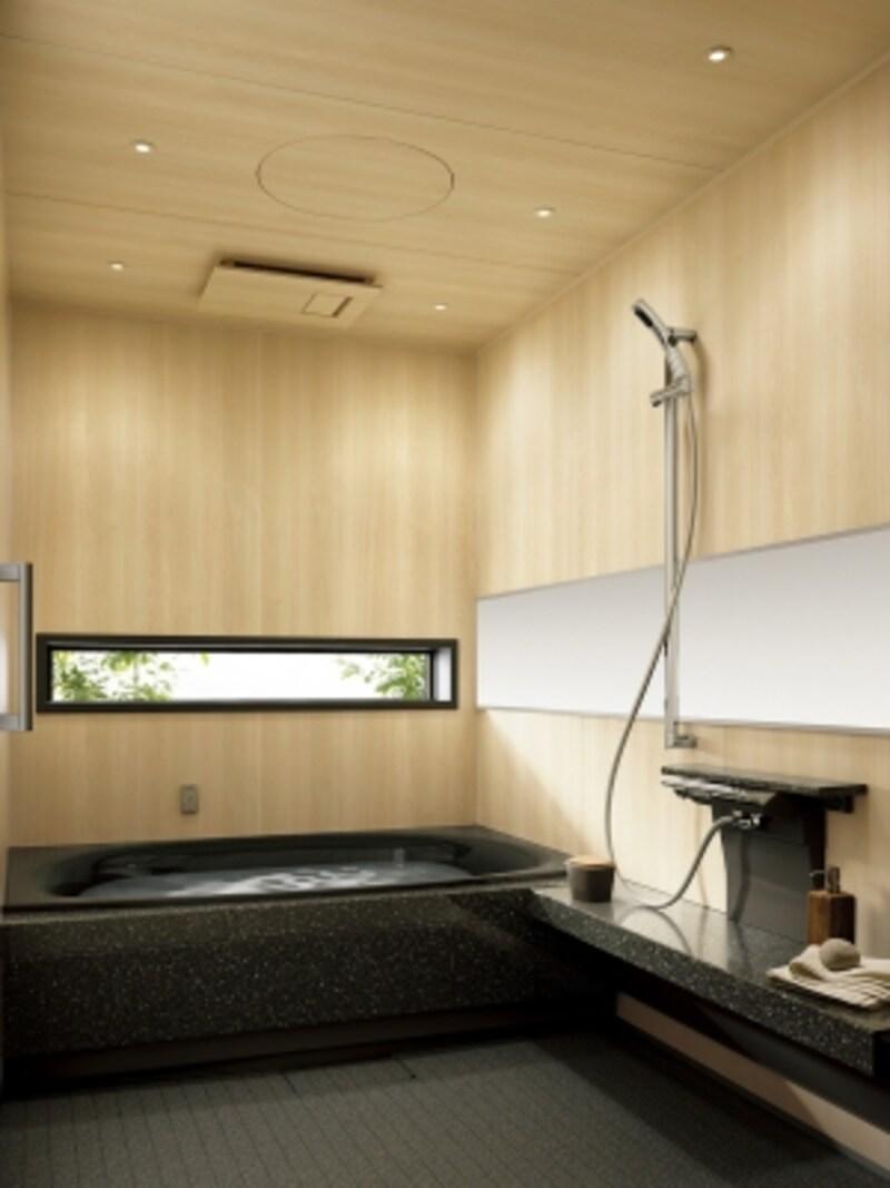 独自の有機ガラス系人造大理石の保温浴槽。お湯に広がるミクロのオイルが肌のうるおいを保つ「オイルヴェール酸素美泡湯」が特徴。[Lクラスバスルームundefined浴槽:ルミノブラック・壁:ヒノキ柄]undefinedパナソニックエコソリューションズhttp://sumai.panasonic.jp/